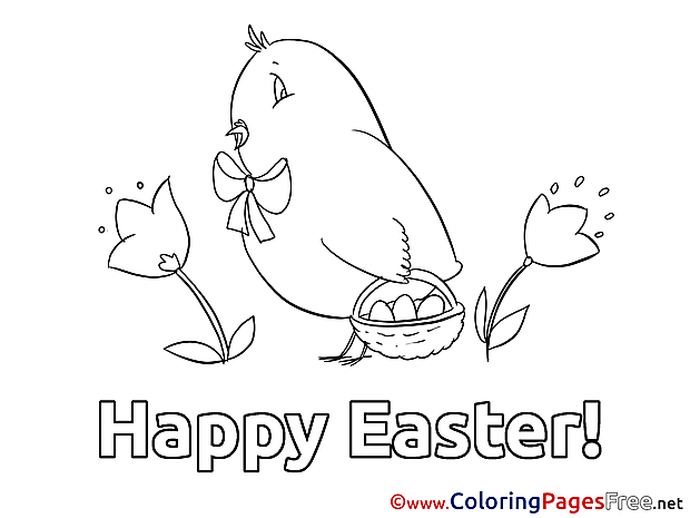 Chicken with Basket Easter Colouring Sheet free