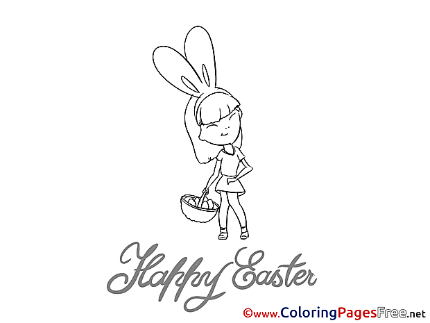 Colouring Page Easter free Girl