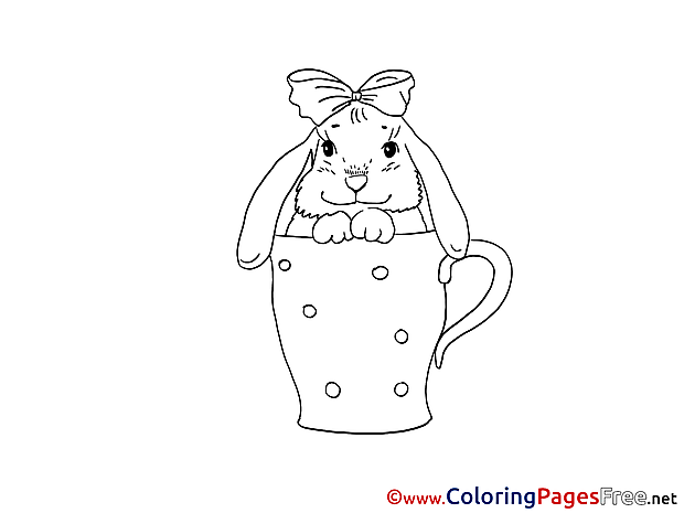 Cup with Hare Easter free Coloring Pages