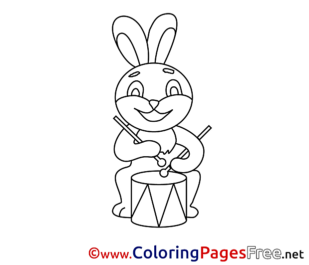 Drum Hare for Kids Easter Colouring Page