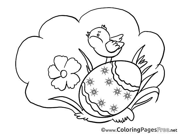 Grass Bird printable Easter Coloring Sheets