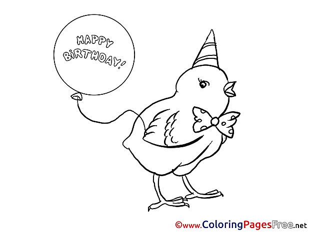 Happy Birthday Chicken Easter Coloring Pages download
