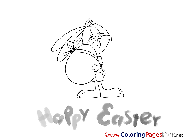 Hare with Egg for Kids Easter Colouring Page
