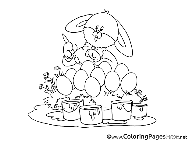 Painter Hare Coloring Pages Easter