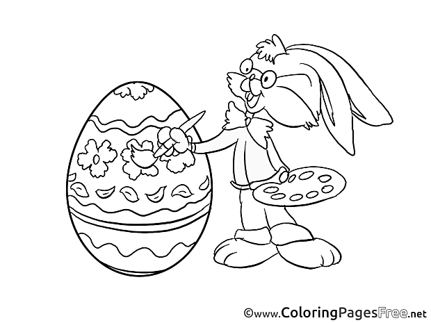 Painter Hare free Colouring Page Easter