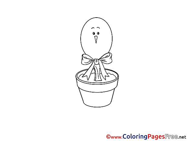 Pot with Egg download Easter Coloring Pages