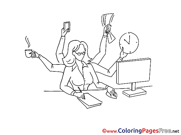 Businesswoman Kids download Coloring Pages