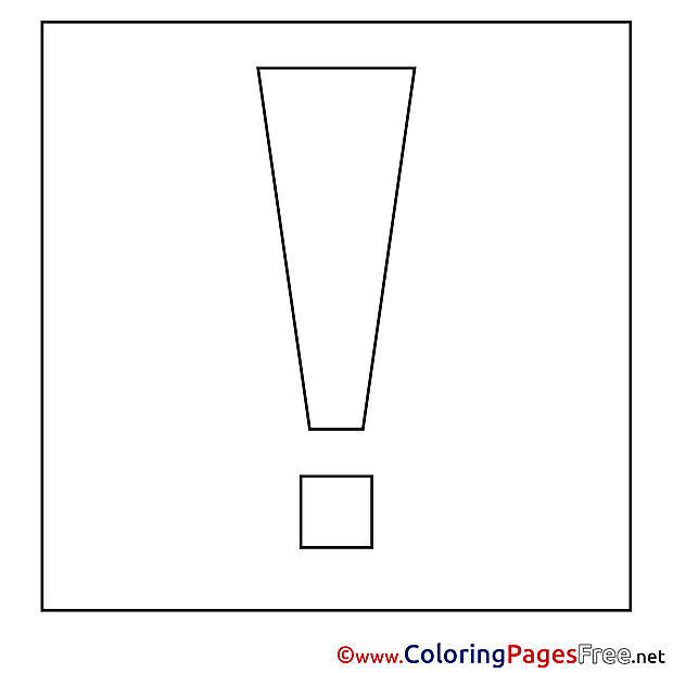 Exclamation Mark Children download Colouring Page