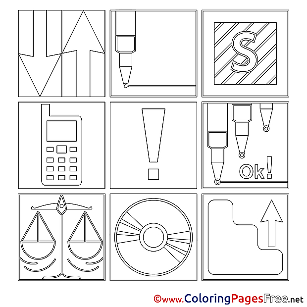 Illustrations Office for Kids printable Colouring Page