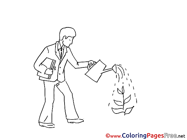 Job Man pours Plant printable Coloring Sheets download