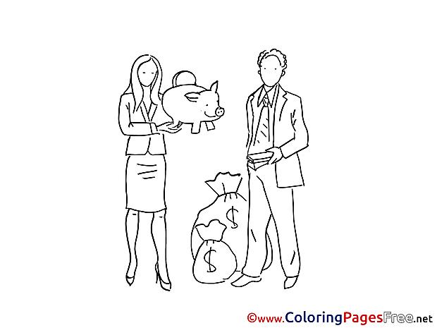 Piggy Bank Money Kids free Coloring Page