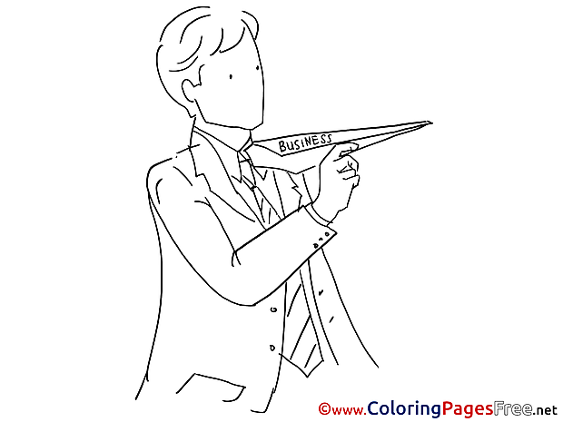 Plane Business Children download Colouring Page