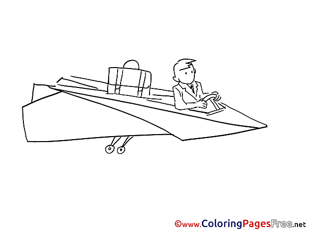 Plane Business download Colouring Sheet free