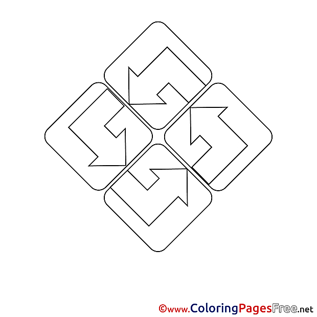 Recycling download Colouring Sheet free