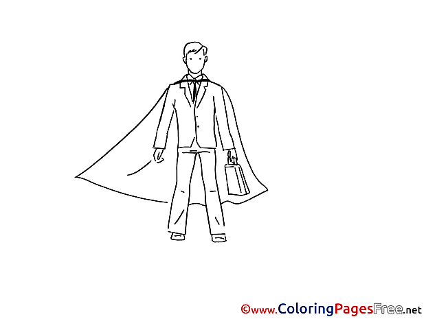 Superman Businessman Children Coloring Pages free