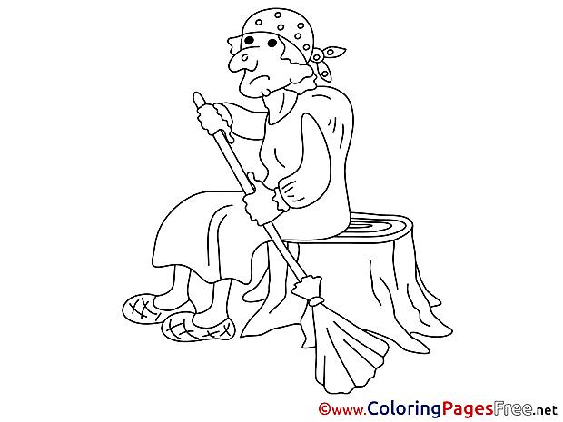 Baba Yaga Colouring Sheet download free