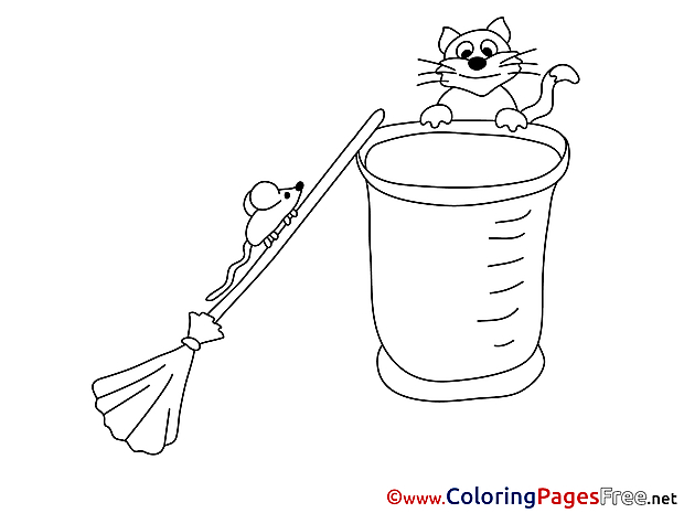 Mouse on Broom free printable Coloring Sheets