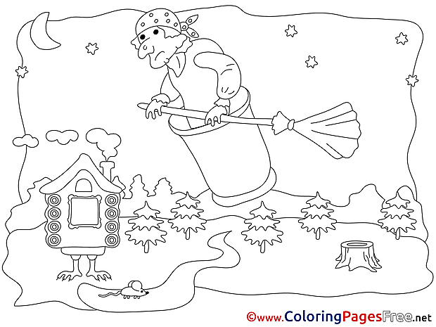 Old Woman Flying Children download Colouring Page