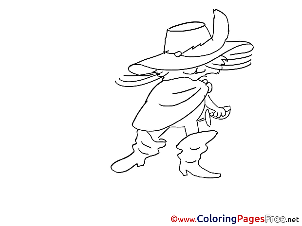 Puss in Boots for Kids printable Colouring Page
