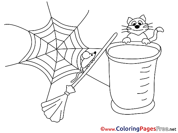 Web Cat Broom download Colouring Sheet free