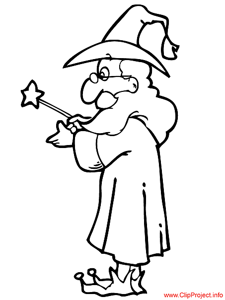 Wizard coloring magician free sheet