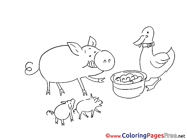 Animals Children download Colouring Page