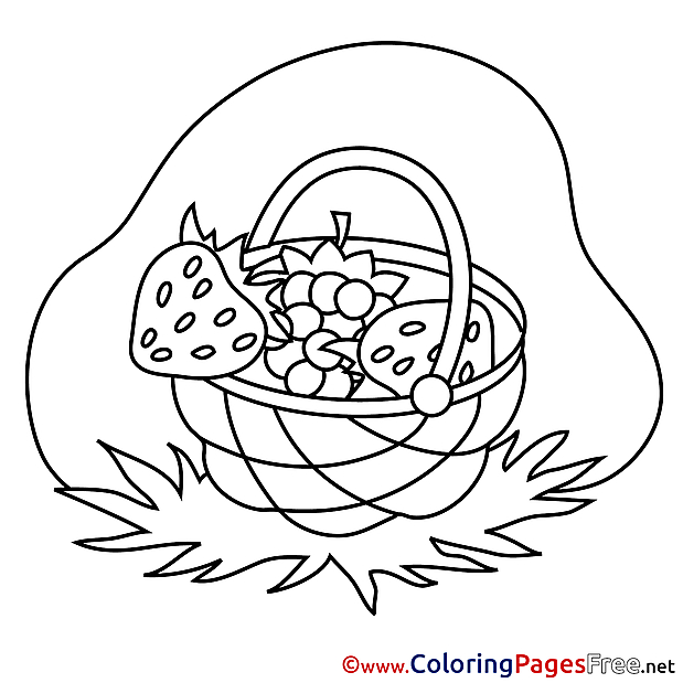 Basket of Berries Colouring Page printable free