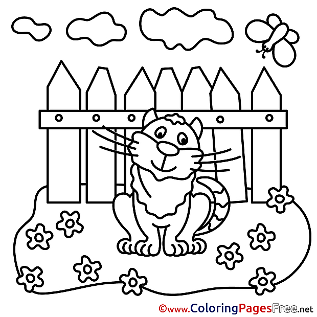 Cat free Colouring Page download