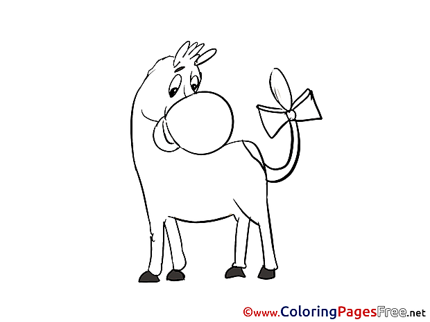 Donkey Children download Colouring Page