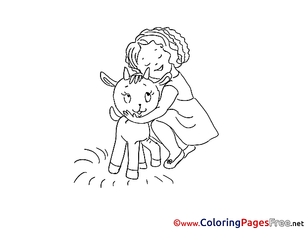 Girl with Goatling printable Coloring Sheets download