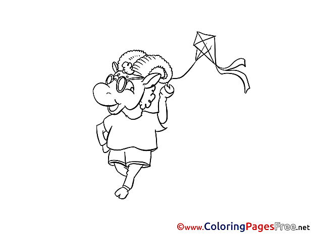 Kite Coloring Pages for free