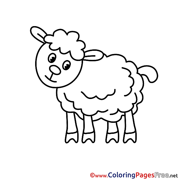 Lamb Children download Colouring Page