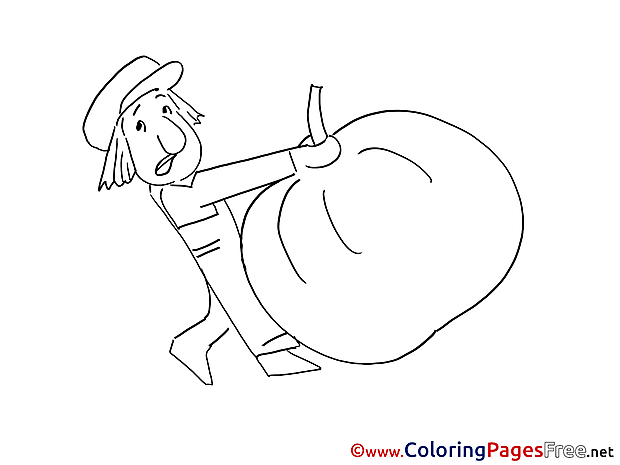 Man brings Pumpkin Children Coloring Pages