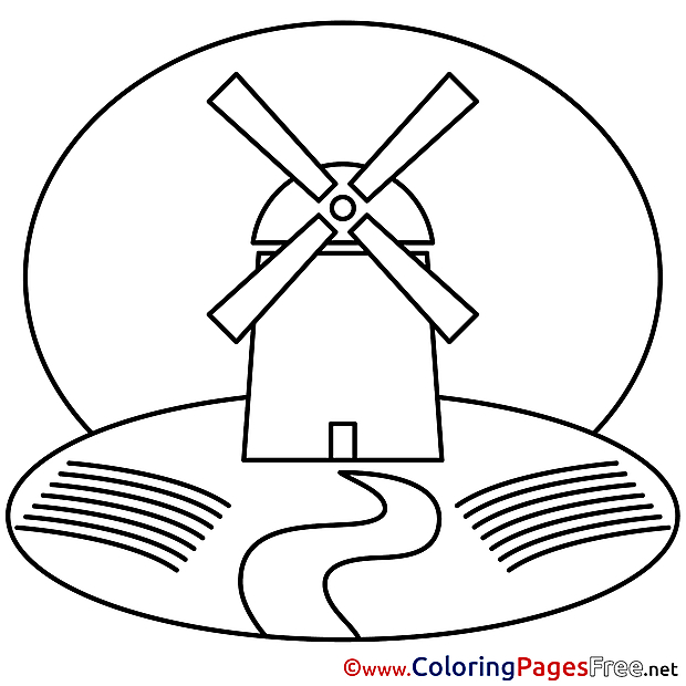 Mill download Colouring Sheet free