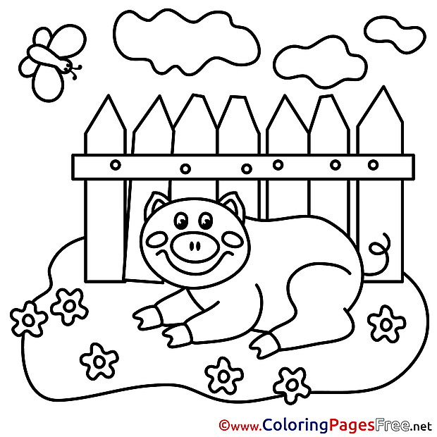 Piggy rest Coloring Sheets download free