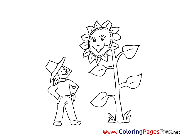 Sunflower Kids download Coloring Pages