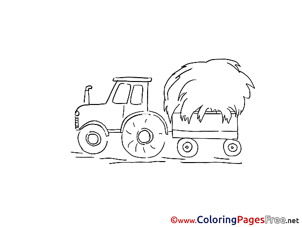 Tractor for Kids printable Colouring Page