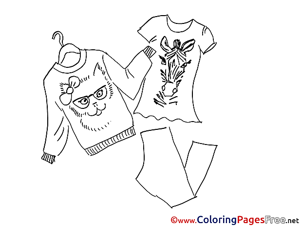 Clothes for Kids printable Colouring Page