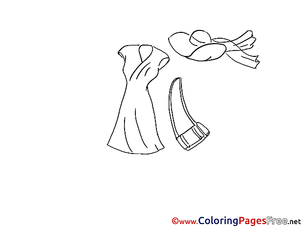 Hat Dress free Colouring Page download