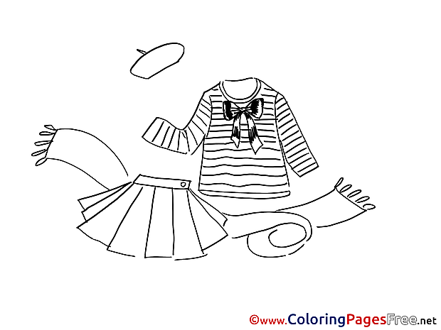 Scarf Skirt Colouring Page printable free