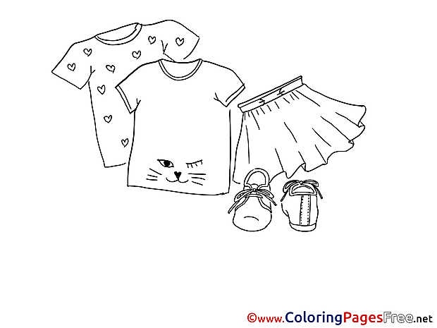 Skirt T-Shirt for Children free Coloring Pages