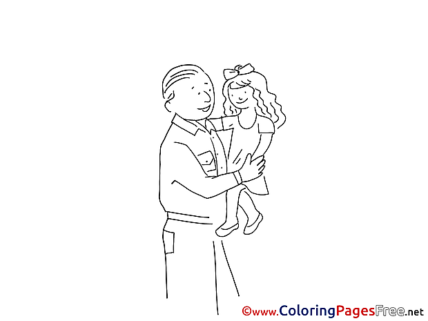 Daughter Colouring Sheet download Father's Day