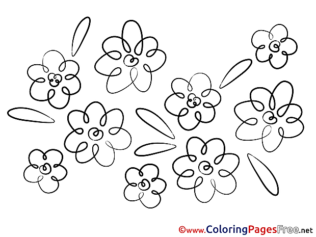 Beautiful Flowers Kids free Coloring Page