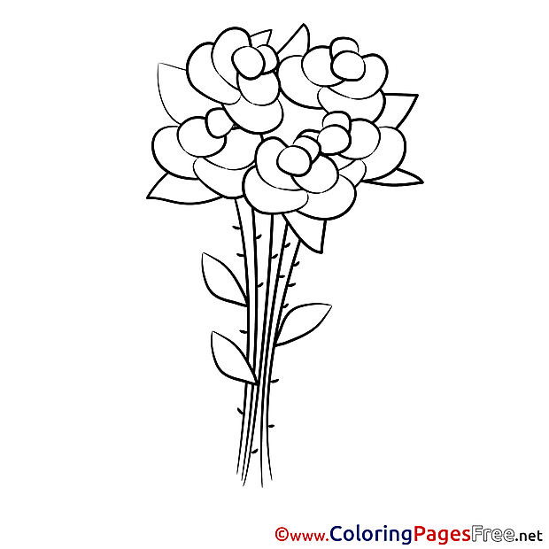 Children download Roses Colouring Page