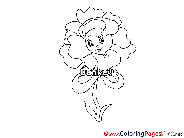 Girl Flower for Children free Coloring Pages