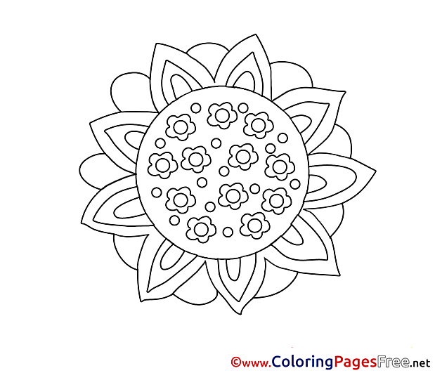 Kids free Flower Coloring Page