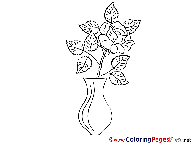 Rose for Children free Coloring Pages