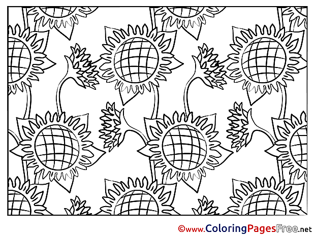 Sunflowers Colouring Page printable free
