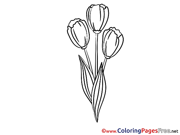 Tulips Kids free Coloring Page