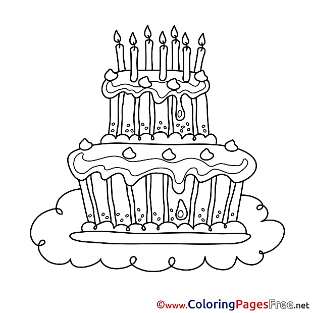 Happy Birthday Cake free Coloring Pages